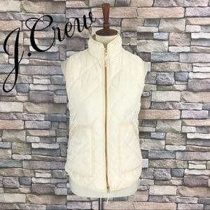 J. Crew Quilted Puffer Vest Cream Size S